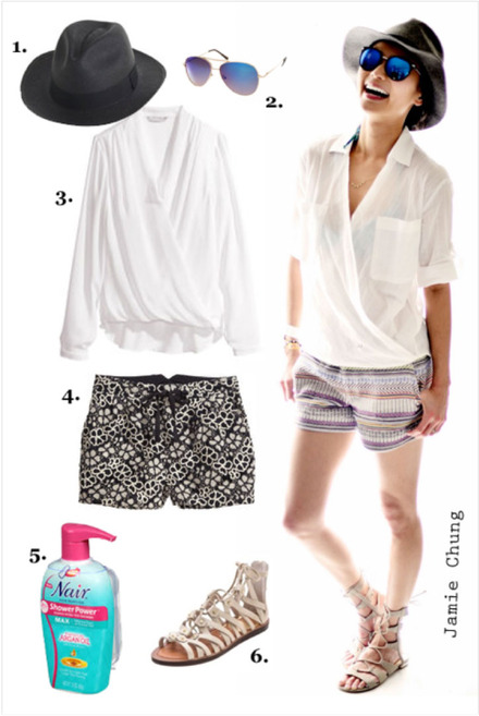Get the look: Gladiators + Printed Shorts