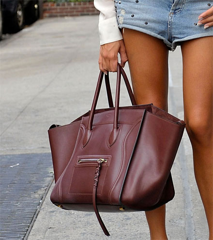 Celine luggage tote in oxblood