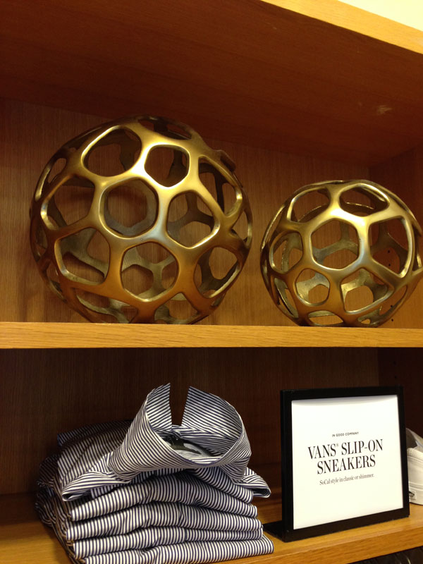 J.Crew stores have the coolest decor, like these brass spheres