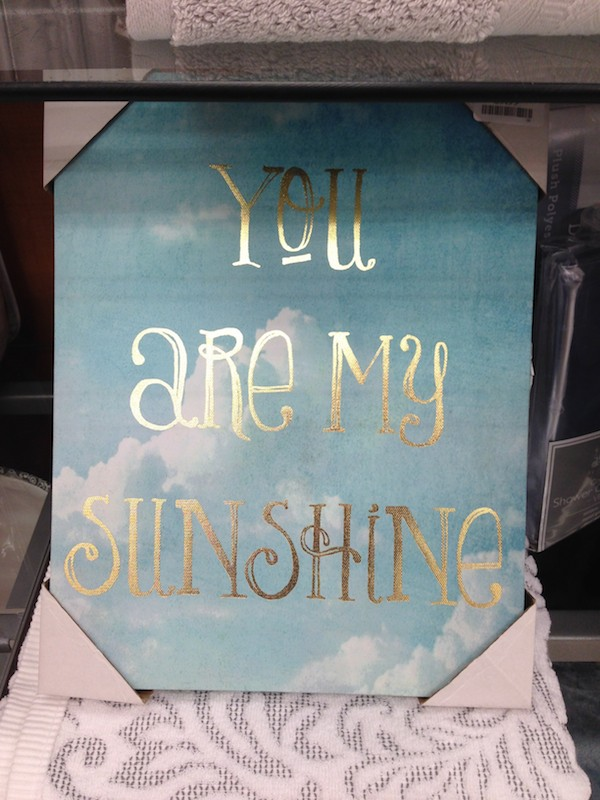 Message art at T.J.Maxx - You are my sunshine