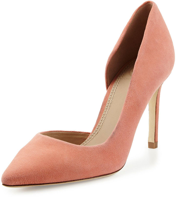 Tory Burch peach suede D'orsay pumps