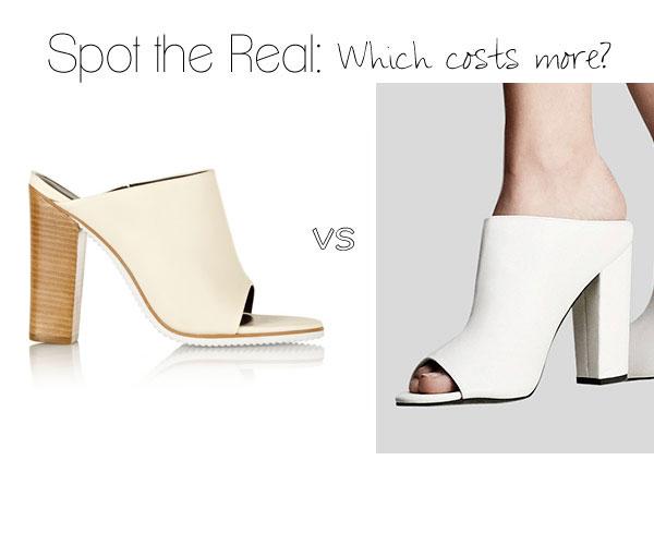 Spot the Real: Tibi White Peep-Toe Mule