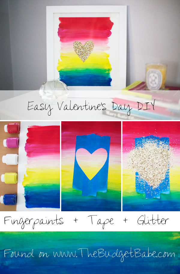 Easy Valentine's Day wall art idea - this would look cute year-round, too! Rainbows & glitter are always in style...