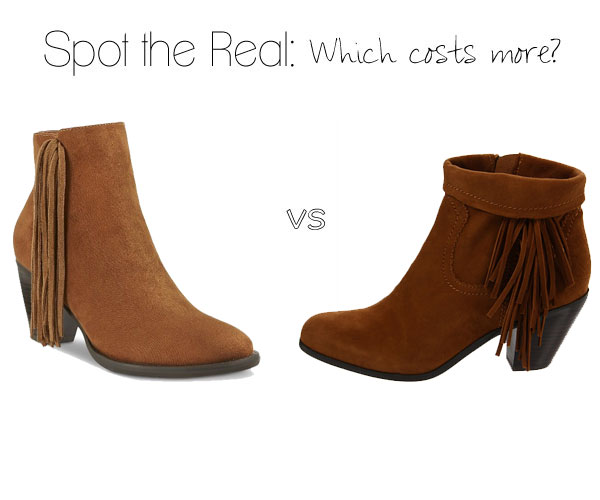 Which fringe ankle boot costs more?