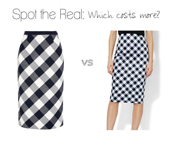 Can you guess which gingham skirt costs $1,290?
