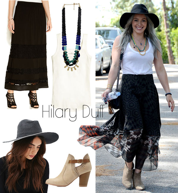 Hilary Duff's boho maxi skirt look for less