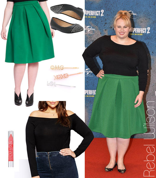 Rebel Wilson's black top and green midi skirt look for less / Thebudgetbabe.com fashion blog