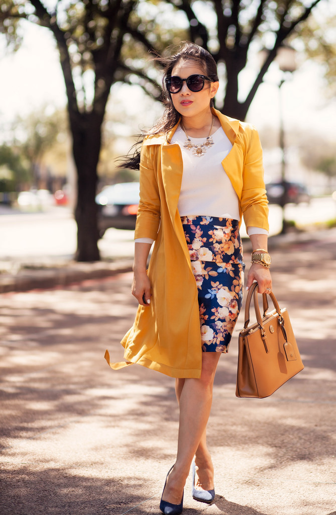 Floral skirt wrap coat
