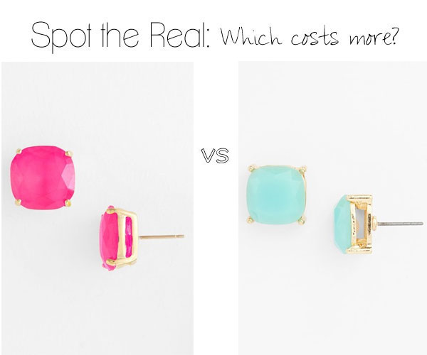 Can you guess which colorful stud earrings cost more?