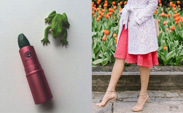 Green lipstick at Honestly Jamie; Mother's Day brunch attire at Sydne Style