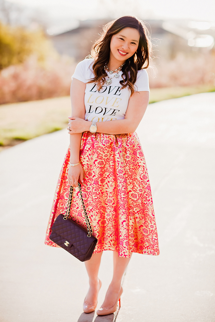 Brocade skirt with graphic tee