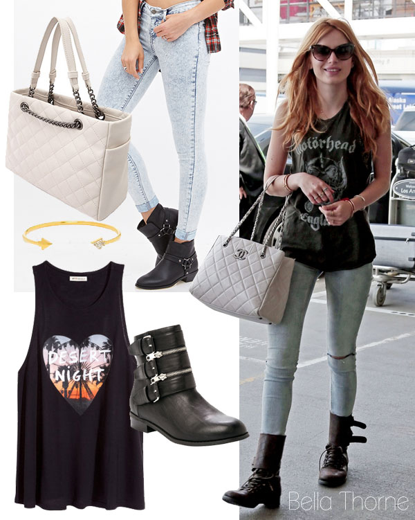 Bella Thorne's graphic tank and moto boots look for less