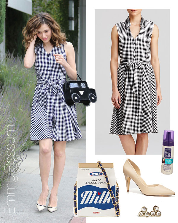 Emmy Rossum's gingham dress and car purse look for less