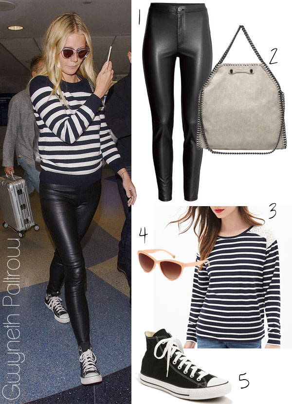 Gwyneth Paltrow's striped top, leather pants and Converse sneakers look for less