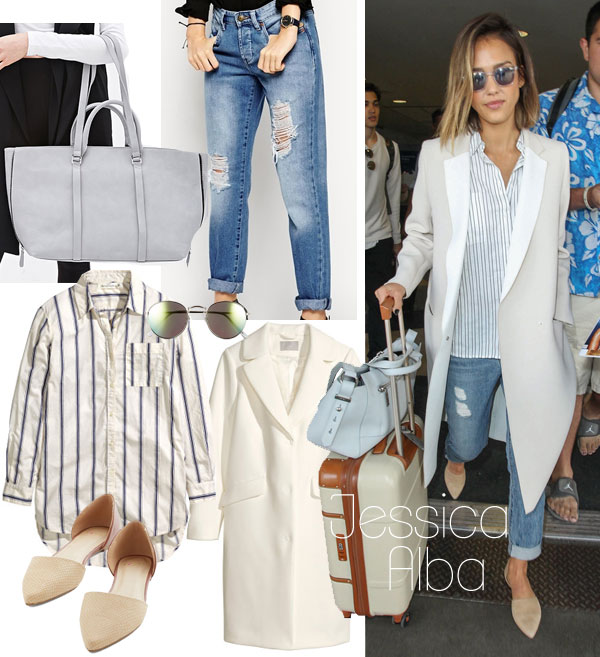 Jessica Alba's striped shirt and D'orsay flats look for less / TheBudgetBabe.com