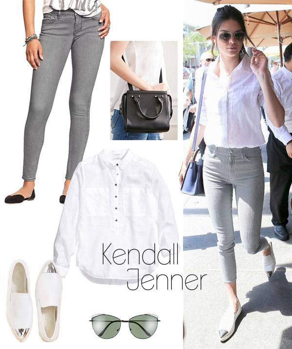 Kendall Jenner's white shirt and cap-toe flats look for less / TheBudgetBabe.com