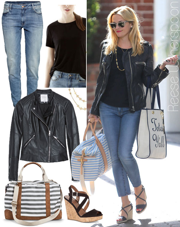 Reese Witherspoon's Totes Ya'll bag and leather jacket look for less