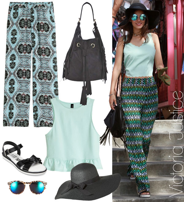 Victoria Justice's palazzo pants and floppy hat look for less / TheBudgetBabe.com