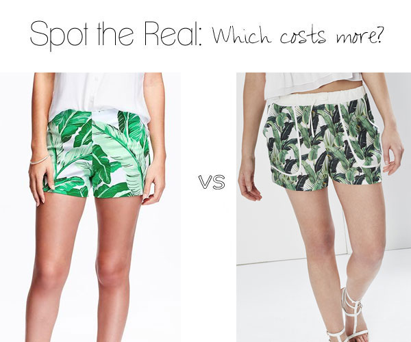 Can you guess which palm print shorts cost more?