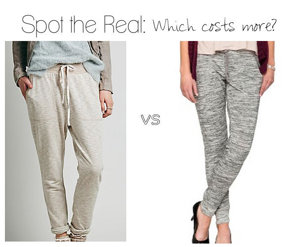 Can you spot the real Free People slim joggers?