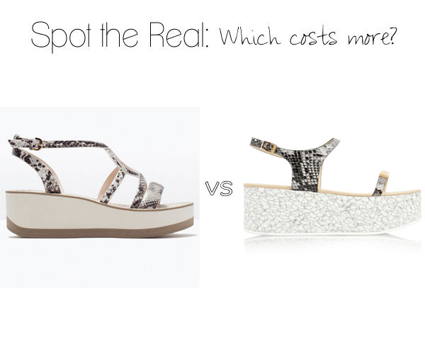 Can you guess which pair of python platform sandals are by Stella McCartney?