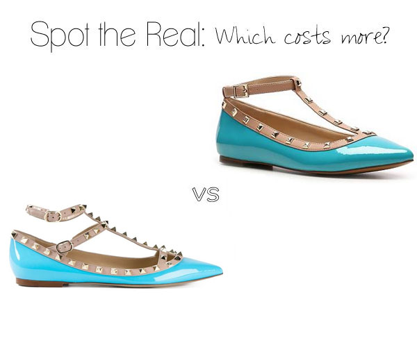 Can you spot the real Valentino Rockstud ballerina flats?