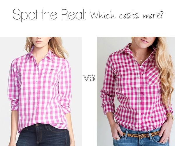 Can you guess which gingham shirt costs more?