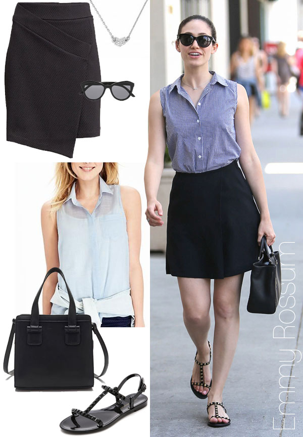 Emmy Rossum's sleeveless shirt, black wrap skirt and studded flat sandals look for less