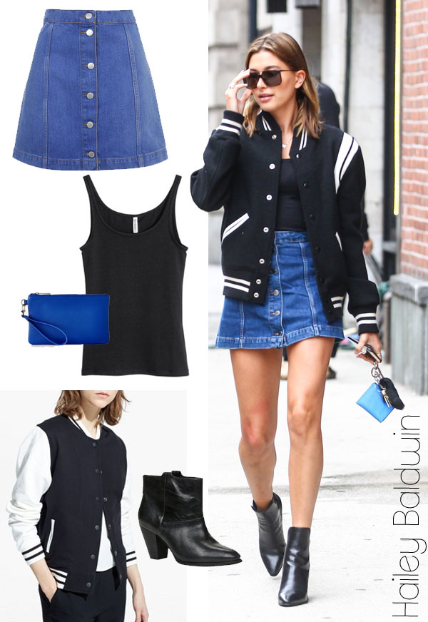 Hailey Baldwin's varsity jacket and denim mini skirt look for less