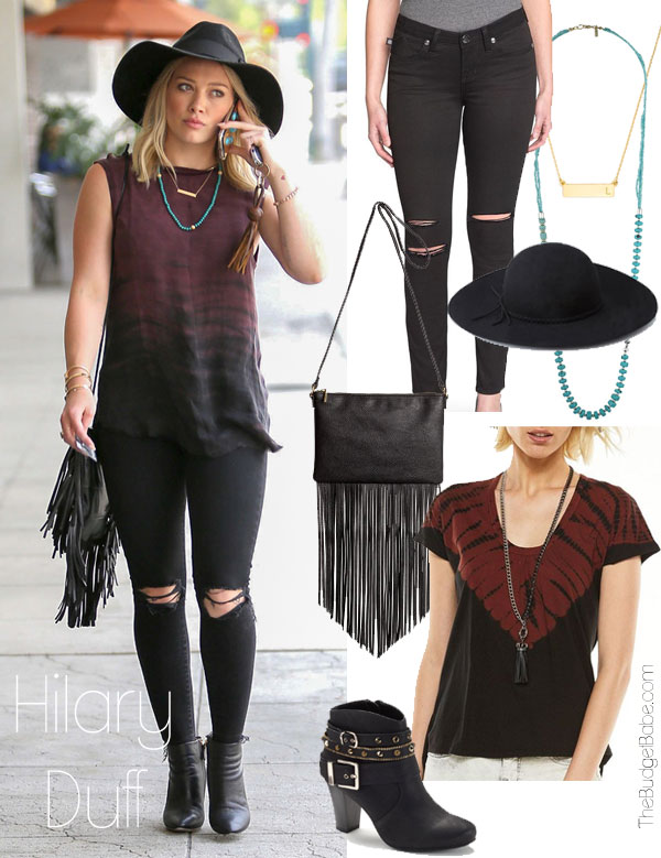 Hilary Duff's sleeveless purple and black tie dye top look for less