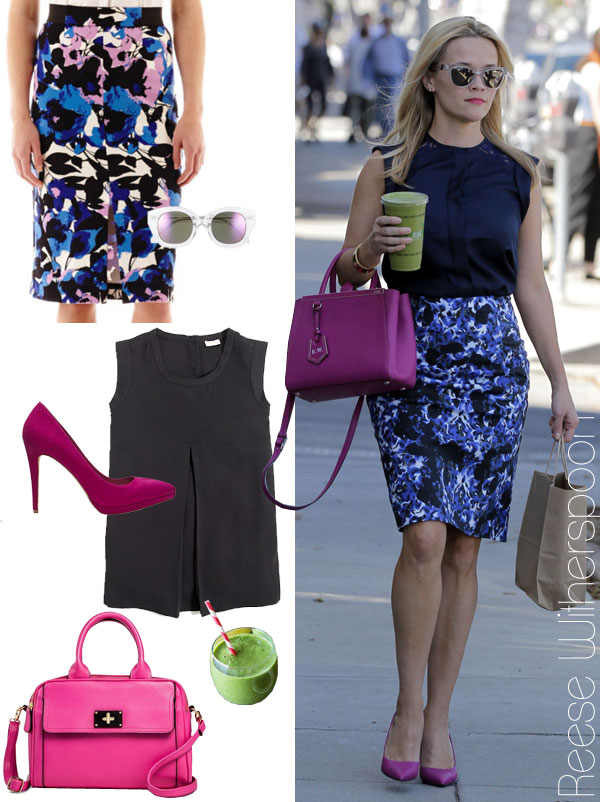 Reese Witherspoon's floral pencil skirt and fuchsia accessories look for less