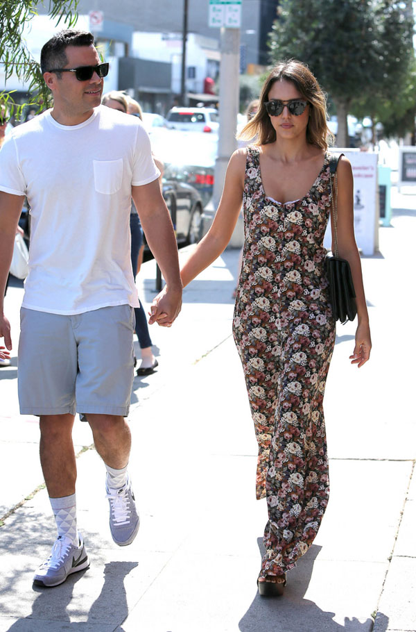 Jessica Alba's floral jumpsuit and wedge sandals look