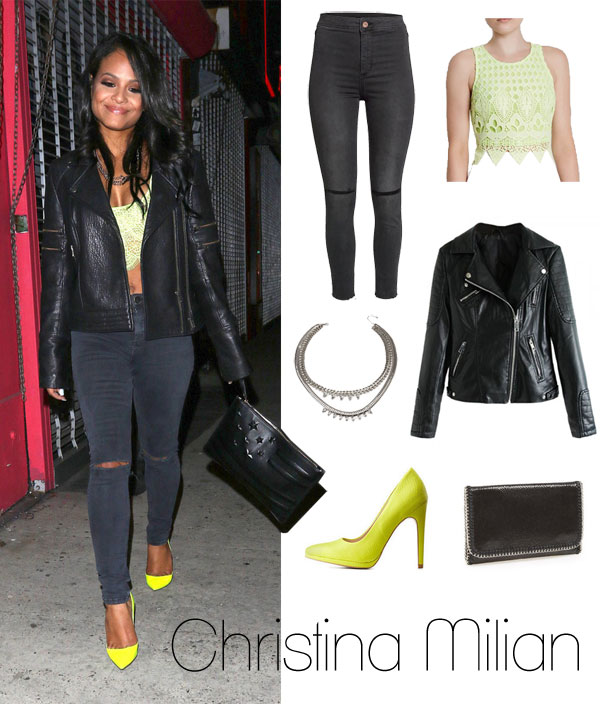 Christina Milian's neon yellow and black look for less