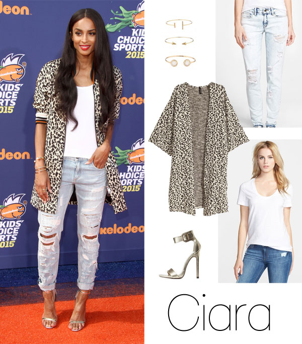 Ciara's leopard coat and distressed jeans look for less