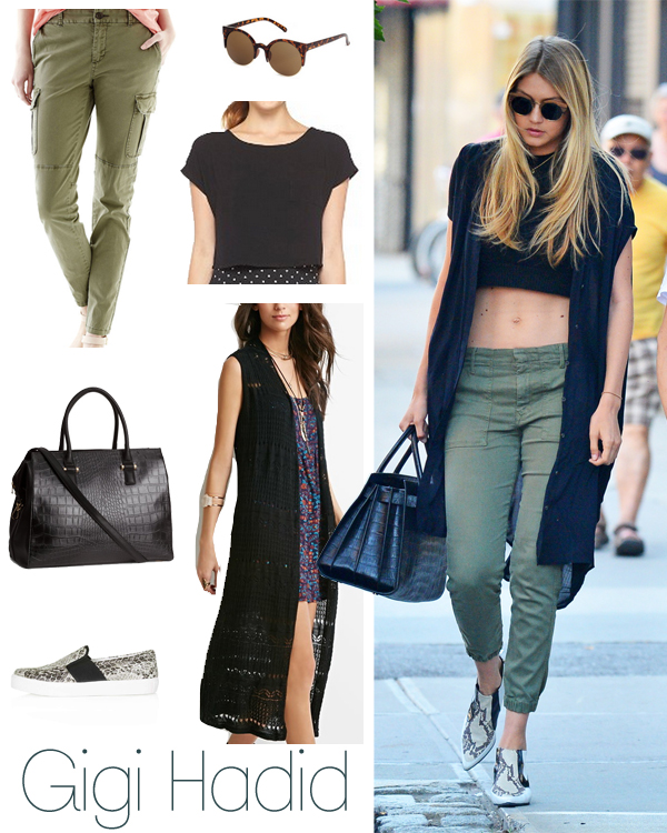Gigi Hadid's slim cargos and longline vest look for less
