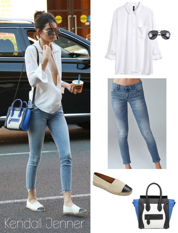 Kendall Jenner's white blouse, skinny jeans, cap toe espadrilles and Celine mini luggage tote look for less