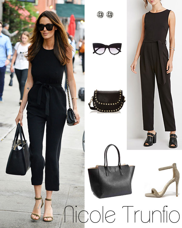Nicole Trunfio's black jumpsuit and ankle strap heels look for less