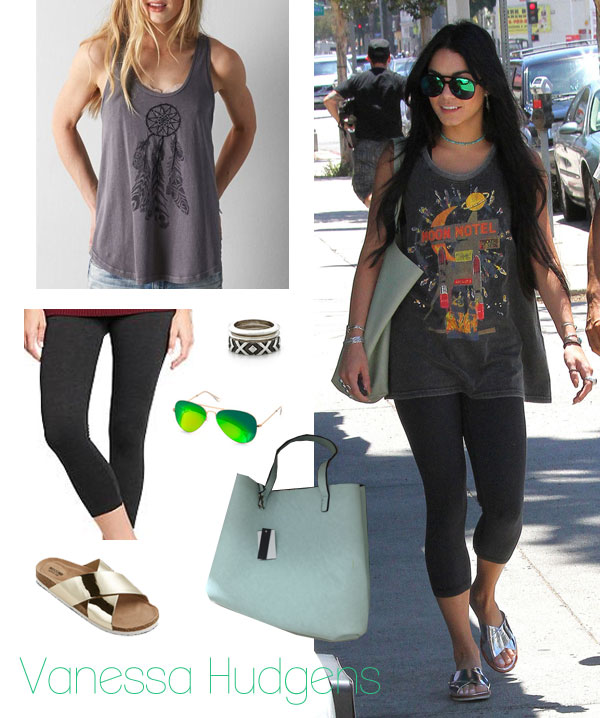 Vanessa Hudgens' muscle tank, leggings and silver slides look for less