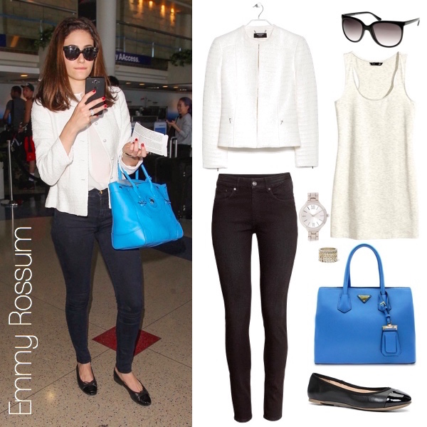 Emmy Rossum bright blue bag, white jacket, and skinny jeans