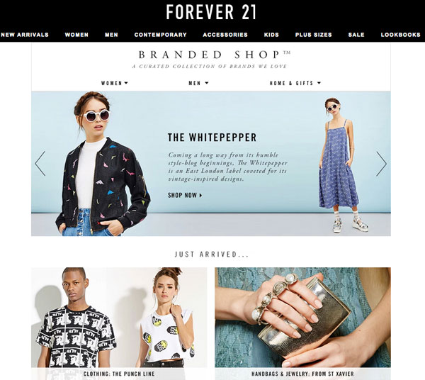Forever 21's Branded Shop features dozens of brands
