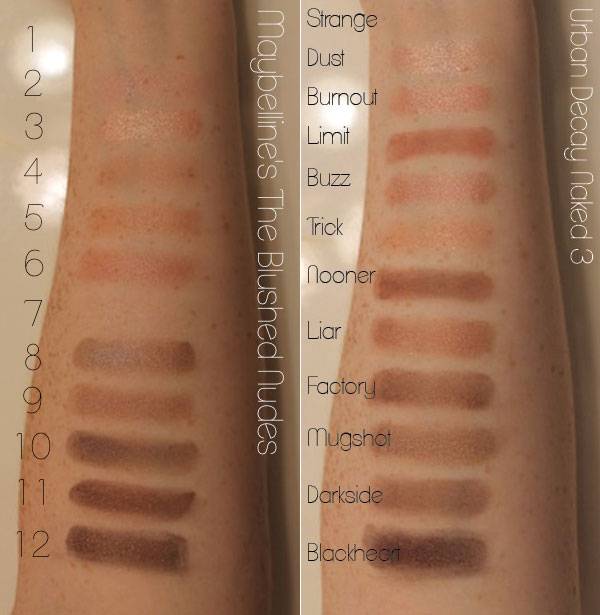 Naked 3 versus Maybelline The Blushed Nudes eyeshadow palette review and comparison with swatches