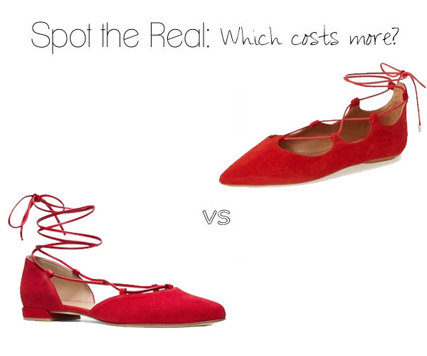 Can you spot the real Stuart Weitzman lace up flats?