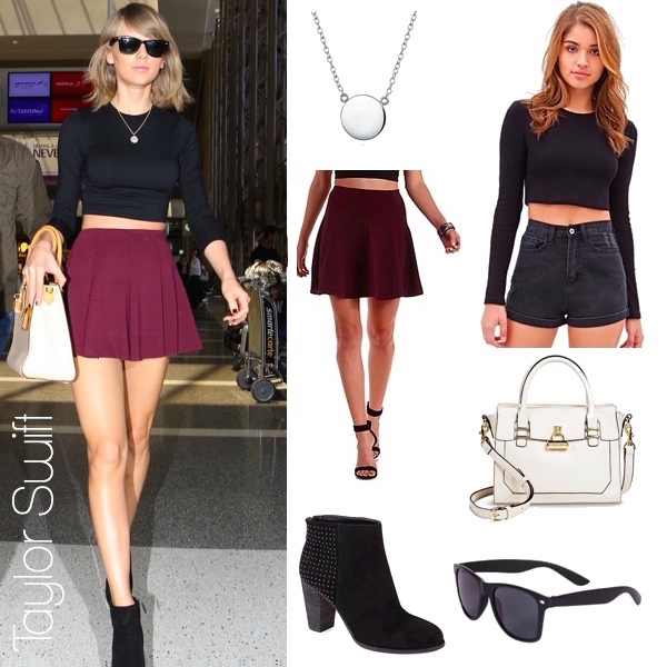 Taylor Swift's crop top and oxblood circle skirt look for less / See more at thebudgetbabe.com