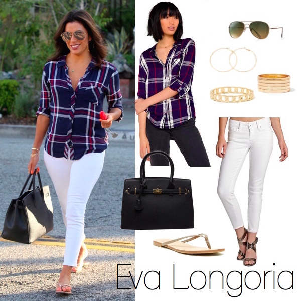 Eva Longoria Plaid Look