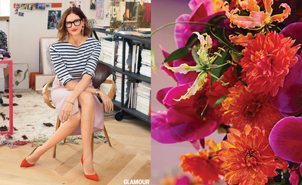 Jenna Lyons in Glamour mag, how to arrange flowers on any budget