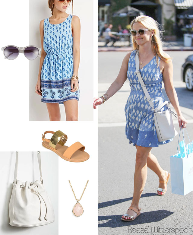 Reese Witherspoon's blue summer dress, white bucket bag and flat sandals look for less