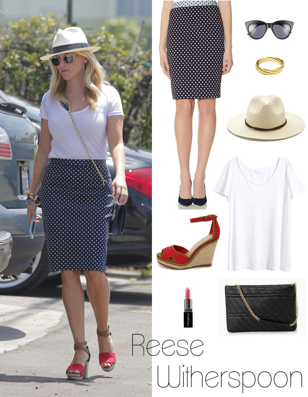 Reese Witherspoon's casual preppy style featuring a polka dot pencil skirt, white t-shirt and red and tan wedge sandals.