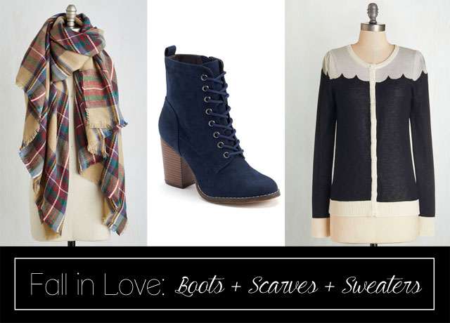 Fall outfit ideas featuring boots, scarves and soft sweaters