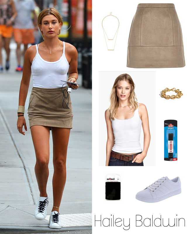 Easily Suede: Hailey Baldwin's Tan Mini Skirt and White Sneakers ...