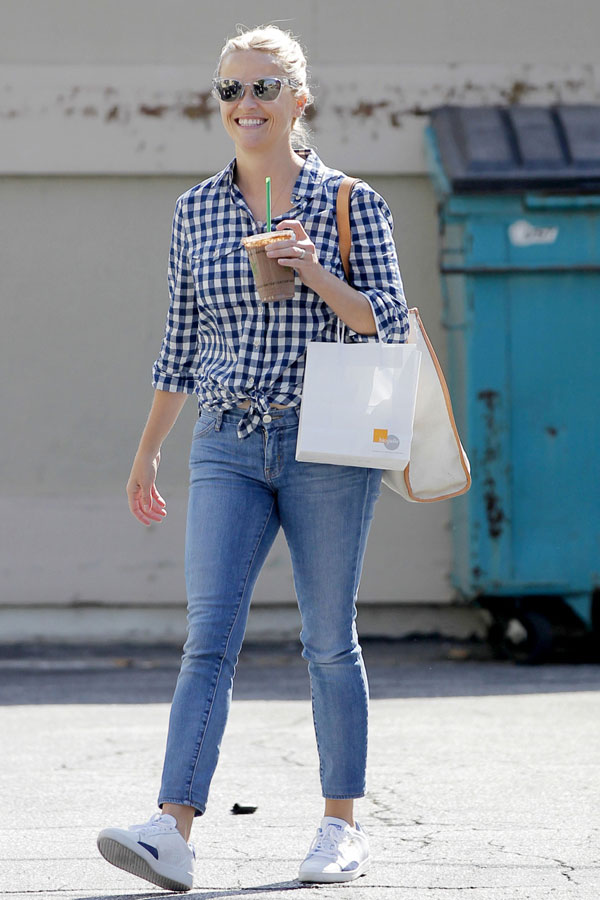 Reese Witherspoon's gingham shirt, jeans and white sneakers